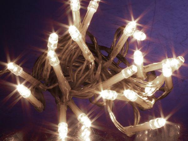 LED-Lichterkette, 20 LEDs, kaltweiß, Batteriebetrieb, Timer