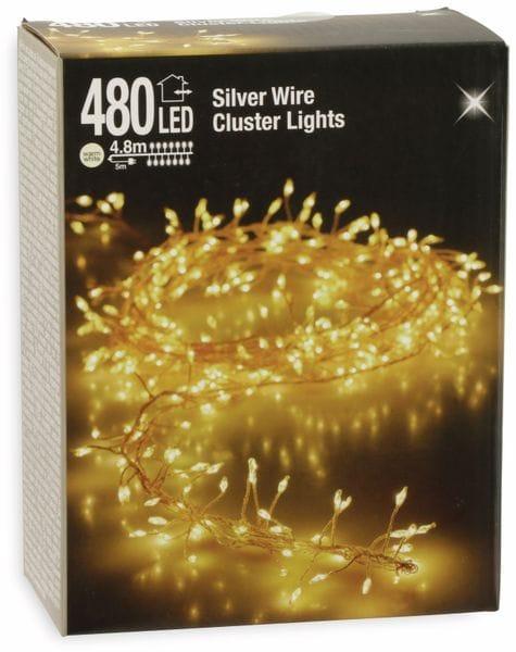 LED-Büschellichterkette Silberdraht, warmweiß, 480 LEDs, 230V~, IP44, 9,8m - Produktbild 2