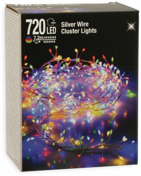 LED-Büschellichterkette Silberdraht, bunt, 720 LEDs, 230V~, IP44, 12,2m - Produktbild 3