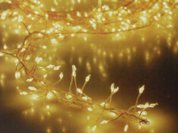 LED-Büschellichterkette Silberdraht, 100 LEDs, warmweiß, Batterbetrieb