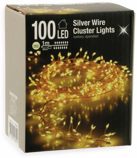 LED-Büschellichterkette Silberdraht, 100 LEDs, warmweiß, Batterbetrieb - Produktbild 2