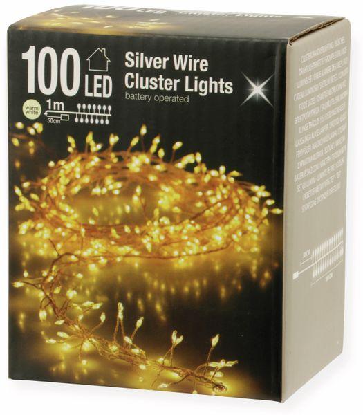 LED-Büschellichterkette Silberdraht, 100 LEDs, warmweiß, Batterbetrieb - Produktbild 3