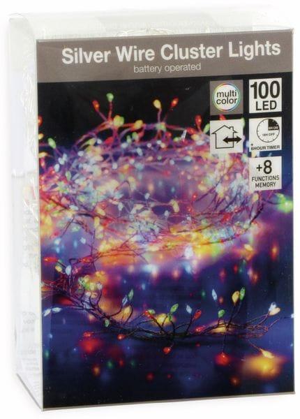 LED-Cluster-Llichterkette Draht, 100 LEDs, bunt, Batteriebetrieb, Timer - Produktbild 2