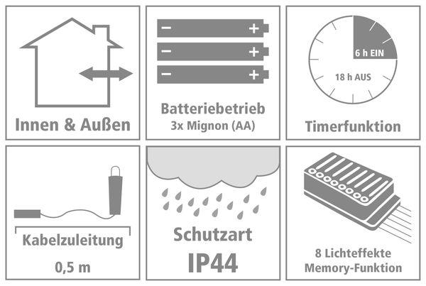 LED-Cluster-Llichterkette Draht, 100 LEDs, bunt, Batteriebetrieb, Timer - Produktbild 4