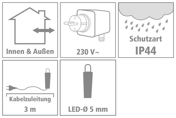 LED-Lichterkette Vorhang ,90 LEDs, kaltweiß, IP44, 230 V~, 3 m, grün - Produktbild 2