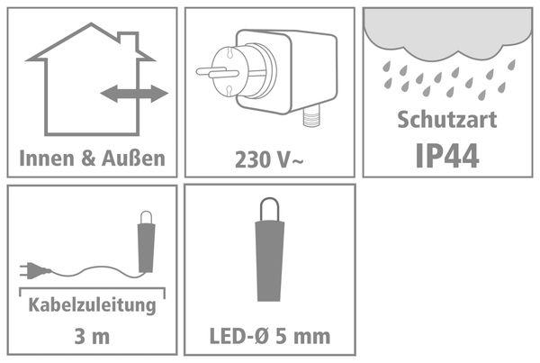 LED-Lichterkette Vorhang ,90 LEDs, warmweiß, IP44, 230 V~, 3 m, transparent - Produktbild 2
