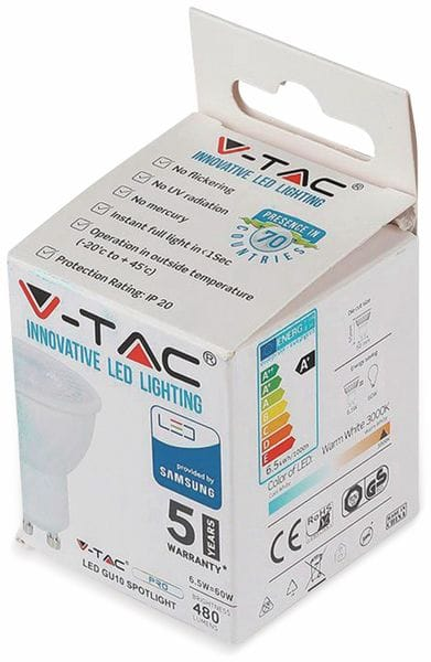 LED-Lampe V-TAC VT-247 (192), GU10, EEK: A+, 6,5 W, 480 lm, 3000 K - Produktbild 4