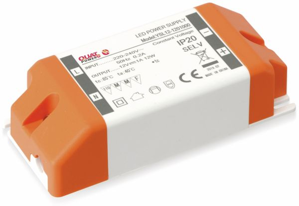 LED-Schaltnetzteil QUATPOWER YSL12W, 12 V, 12 W