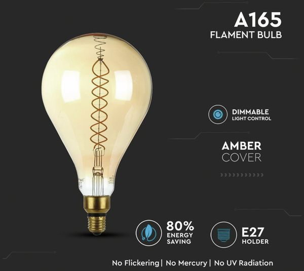 LED-Deko Lampe Amber, VT-2138D, E27, EEK: A, 8 W, 500 lm, 2000 K, dimmbar - Produktbild 4