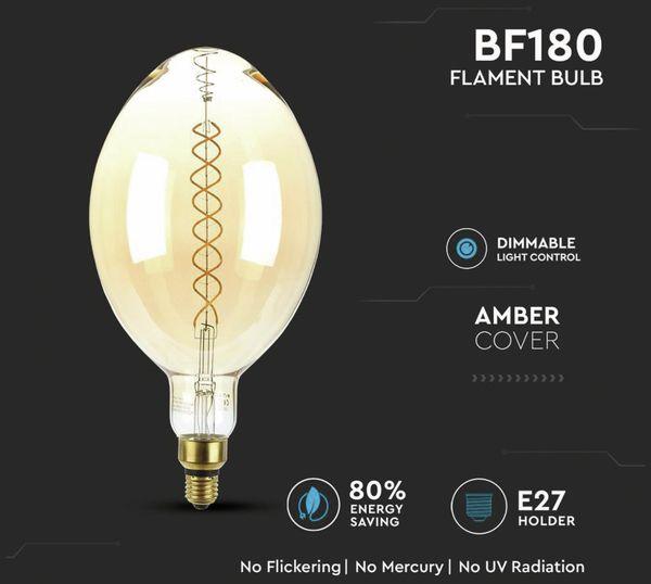 LED-Deko Lampe Amber, VT-2178D, E27, EEK: A, 8 W, 600 lm, 2000 K, dimmbar - Produktbild 4
