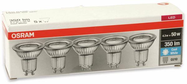 LED-Lampe OSRAM LED BASE PAR16, GU10, EEK A+, 4,3 W, 350 lm, 4000 K, 5 Stk. - Produktbild 4