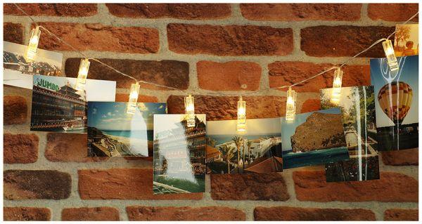 LED-Lichterkette, 40 Foto Clips, warmweiß, Batteriebetrieb - Produktbild 2