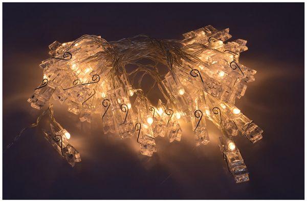 LED-Lichterkette, 40 Foto Clips, warmweiß, Batteriebetrieb - Produktbild 4