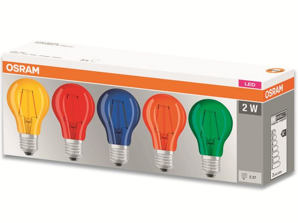 LED Lampen Set OSRAM BASE DECOR , E27, EEK: A, 2 W, 136 lm, farbig 5-teilig - Produktbild 3