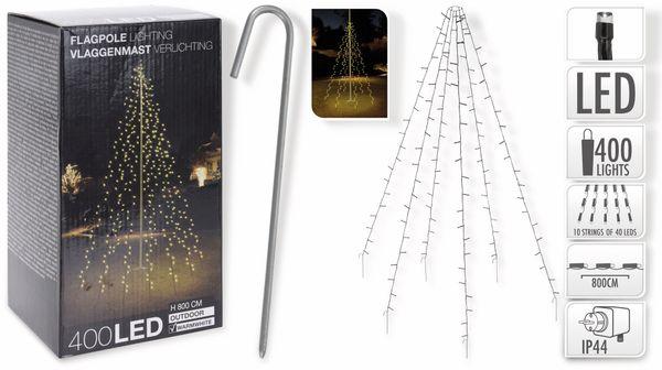 LED-Fahnenmast-Beleuchtung, 400 LEDs, IP44 warmweiß, 10 Stränge á 8 m, 230V~