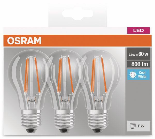 LED-Lampe OSRAM BASE CLAS A, E27, EEK: A++, 6W, 806 lm, 4000 K, 3 Stk. klar - Produktbild 3