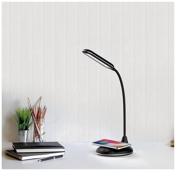 LED-Schreibtischleuchte VT-7705 5W, Wireless Lader,2700K-6500K, schwarz, 5V- - Produktbild 3