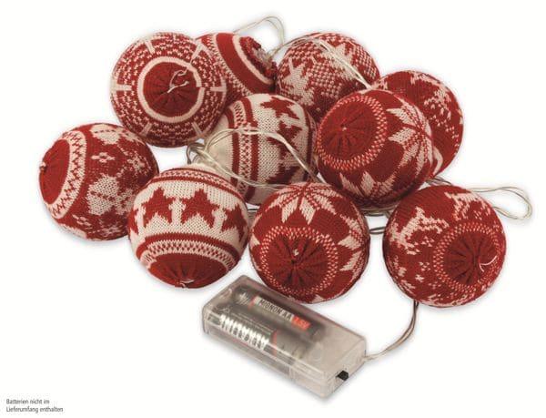 LED-Lichterkette Nordic Balls, 10 Kugeln, warmweiß, rot, Batteriebetrieb