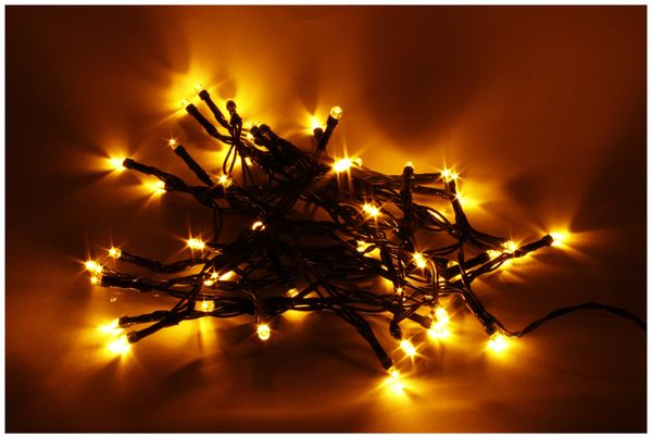 LED-Lichterkette, 50 LEDs, Bernstein, Batteriebetrieb, IP44, Timer 6h