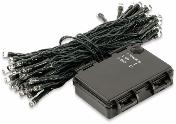 LED-Lichterkette, 50 LEDs, Bernstein, Batteriebetrieb, IP44, Timer 6h - Produktbild 2