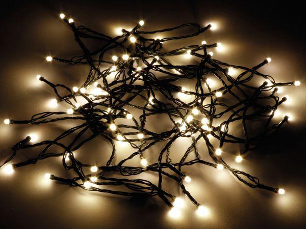 LED-Lichterkette, 80 LEDs, warmweiß, IP44, Timer 6h