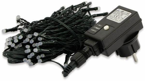 LED-Lichterkette, 80 LEDs, kaltweiß, Netzbetrieb, IP44, Timer 6h - Produktbild 2