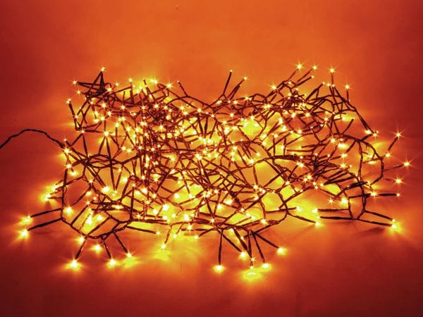 LED-Büschellichterkette, 400 LEDs, Bernstein, Netzbetrieb, IP44, Timer 6h