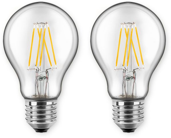 LED-Lampe BLULAXA A60 Filament, E27, EEK:E, 7 W, 810 lm, 2700 K, 2 Stück