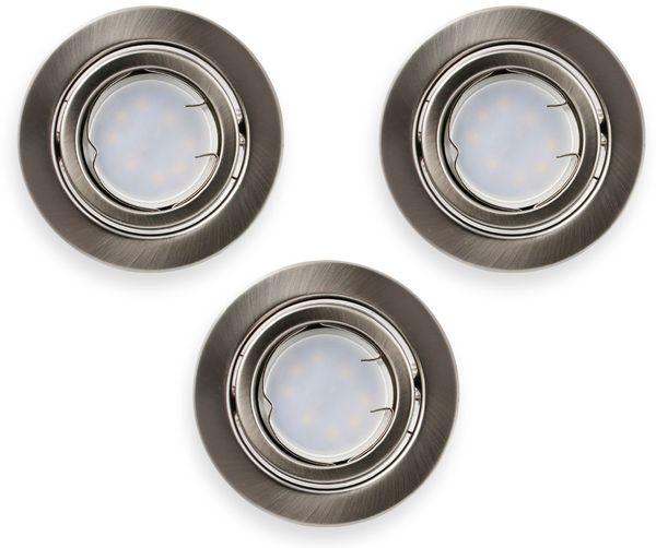 LED-Einbauleuchten Set VT 4444 (8884), GU10, EEK: A+, 5W, 400lm, 3000K, Nickel satiniert, 3 Stück