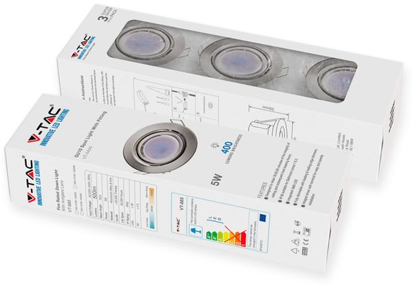 LED-Einbauleuchten Set VT 4444 (8884), GU10, EEK: A+, 5W, 400lm, 3000K, Nickel satiniert, 3 Stück - Produktbild 2