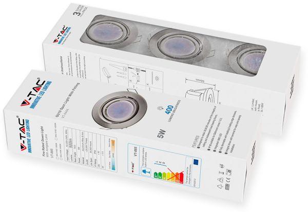 LED-Einbauleuchten Set VT 4444 (8886), GU10, EEK: A+, 5W, 400lm, 6400K, Nickel satiniert, 3 Stück - Produktbild 2