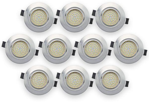 10er Set LED-Einbauleuchte DAYLITE EBL-WW, EEK: A+, 4 W, 400 lm, 3000 K, Nickel satiniert