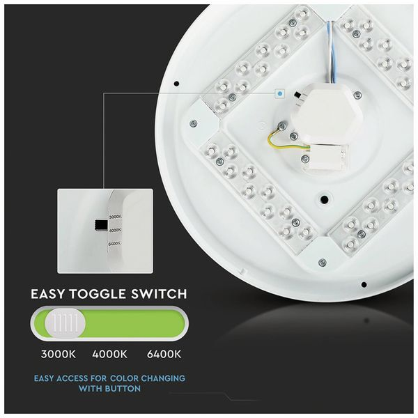 LED-Deckenleuchte VT-8424(7607), EEK: A, 24 W, 1440 lm, 3000…6400 K, weiß - Produktbild 3