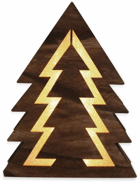 Deco-Holz Baum mit 10 LEDs, TR-TFF-01, dunkelbraun, B-Ware - Produktbild 2