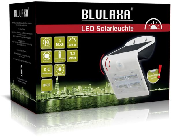 Solar-LED Wandleuchte BLULAXA 48548 mit Sensor, 3,2 W, weiß - Produktbild 4