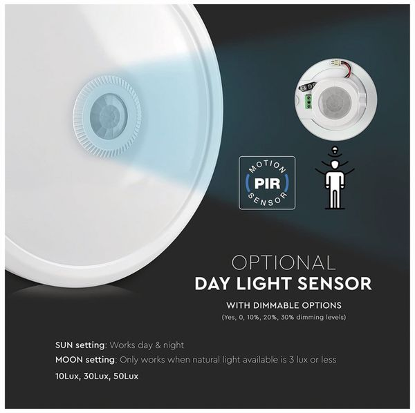 LED-Deckenleuchte VT-13(808), 12 W, 800 lm, 4000K, Bewegungsmelder, weiß - Produktbild 3