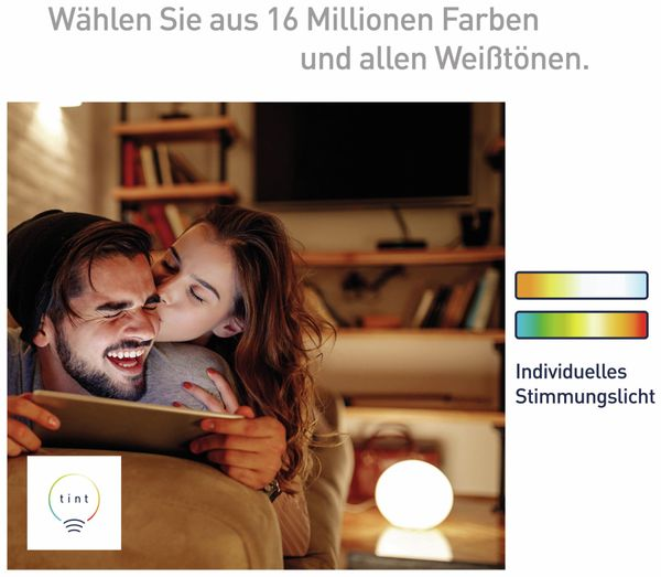LED-Lampe TINT, E27, 10 W, 806 lm, EEK A+, Birne, RGB - Produktbild 6