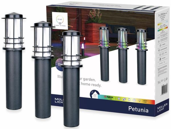 LED-Weg-Leuchte MÜLLER LICHT TINT Petunia, 3 Stück, 14 W, 750 lm, 350 mm, RGB - Produktbild 2