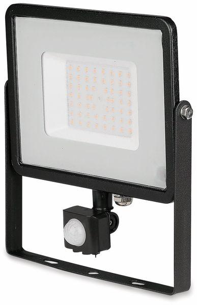 LED-Fluter mit Bewegungsmelder VT-50-S-B, EEK: A+, 50 W, 4000lm, 3000 K, schwarz