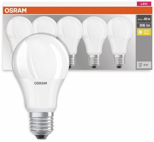 5er Set LED-Lampe, OSRAM, E27, A+, 8,50 W, 806 lm, 2700 K - Produktbild 3