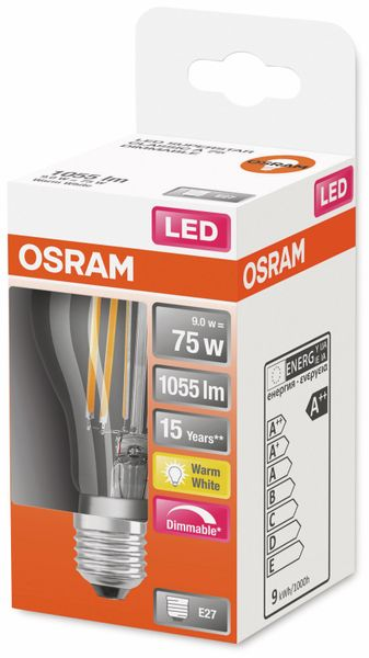LED-Lampe, OSRAM, E27, A++, 9,00 W, 1055 lm, 2700 K - Produktbild 2