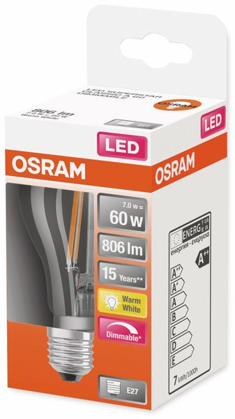 LED-Lampe, OSRAM, E27, A++, 7,00 W, 806 lm, 2700 K - Produktbild 2