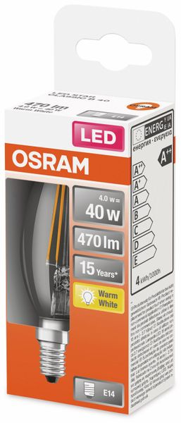 LED-Lampe, OSRAM, E14, A++, 4,00 W, 470 lm, 2700 K - Produktbild 2