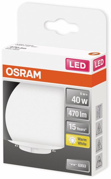 LED-Lampe, OSRAM, GX53, A+, 6,00 W, 470 lm, 2700 K - Produktbild 2