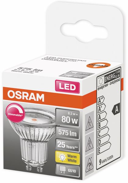 LED-Lampe, OSRAM, GU10, A, 8,30 W, 575 lm, 2700 K - Produktbild 2