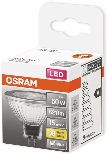 LED-Lampe, OSRAM, GU5.3, A+, 8,00 W, 621 lm, 2700 K - Produktbild 2