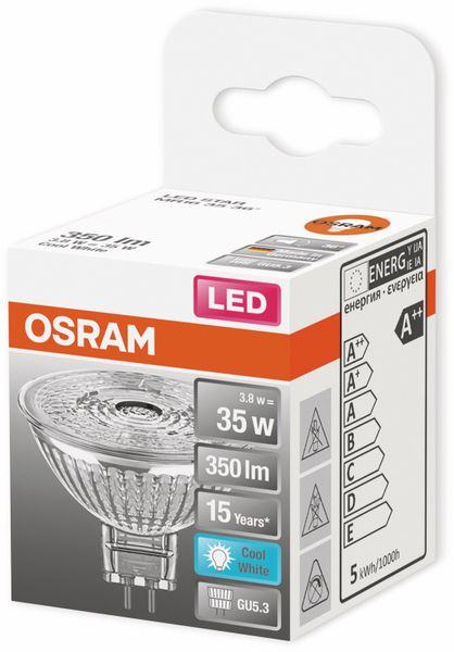 LED-Lampe, OSRAM, GU5.3, A++, 3,80 W, 350 lm, 4000 K - Produktbild 2
