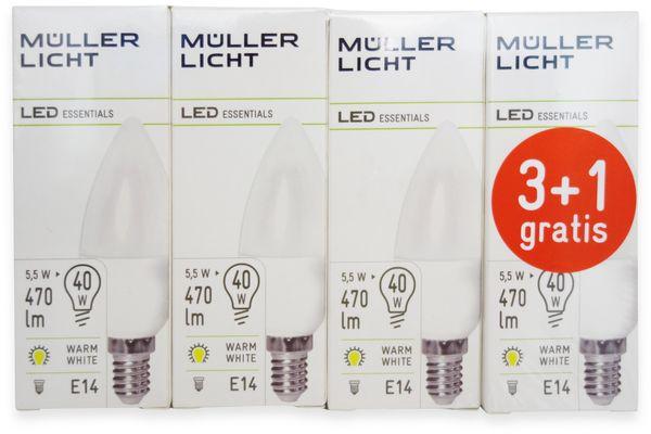 LED-Lampe, Kerzenform, MÜLLER-LICHT, 400258, 3+1 Set, E14, 5.5W, matt - Produktbild 4