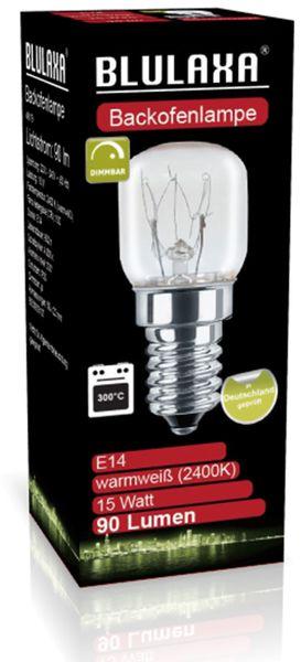AGL Backofenlampe BLULAXA, T22, E14, 15 W, 300°C, 90 lm, 2400K, 22x48 mm - Produktbild 3