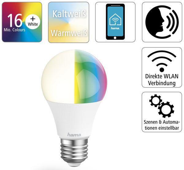 LED-Lampe HAMA, WLAN, E27, 10 W, EEK: A+, 806 lm, RGB + CCT, dimmbar - Produktbild 2